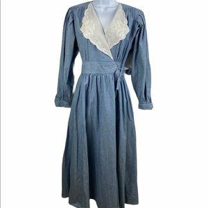 Lanz 80's Cottagecore Denim Lace Collar Midi Dress